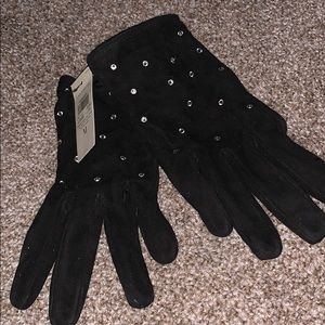 Ann Taylor solid black gloves with crystals